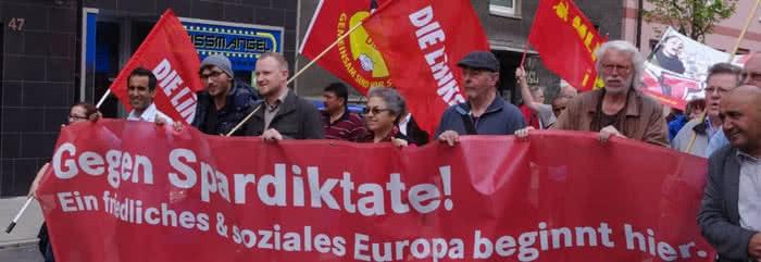 DIE LINKE. Bochum auf einer Demonstration gegen Spardiktate